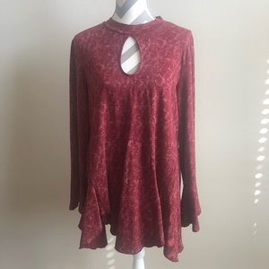 Jodifl Red Acid Wash Tunic Top L EUC